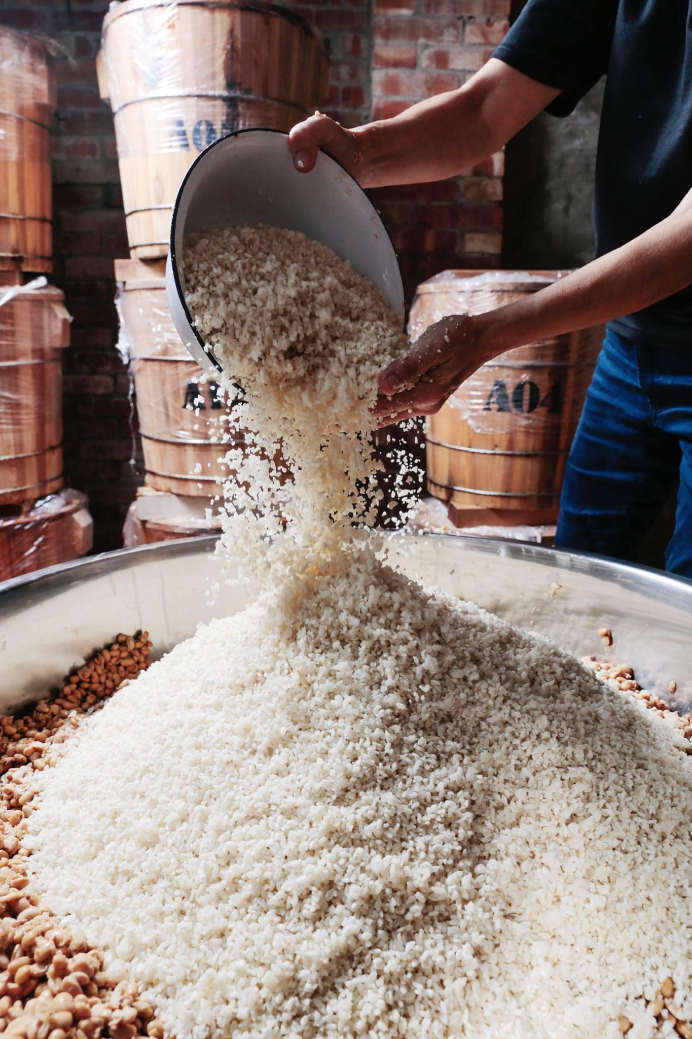 混合黃豆 選用品質優良但成本也較高的國產黃豆,將煮熟的黃豆與米麴充分的攪拌、混合,並細心的舖至木桶中佇存,確保每一層的味噌,味道都能均勻。(1).jpg | 禾乃川國產豆製所 | 改變生命的豆漿店
