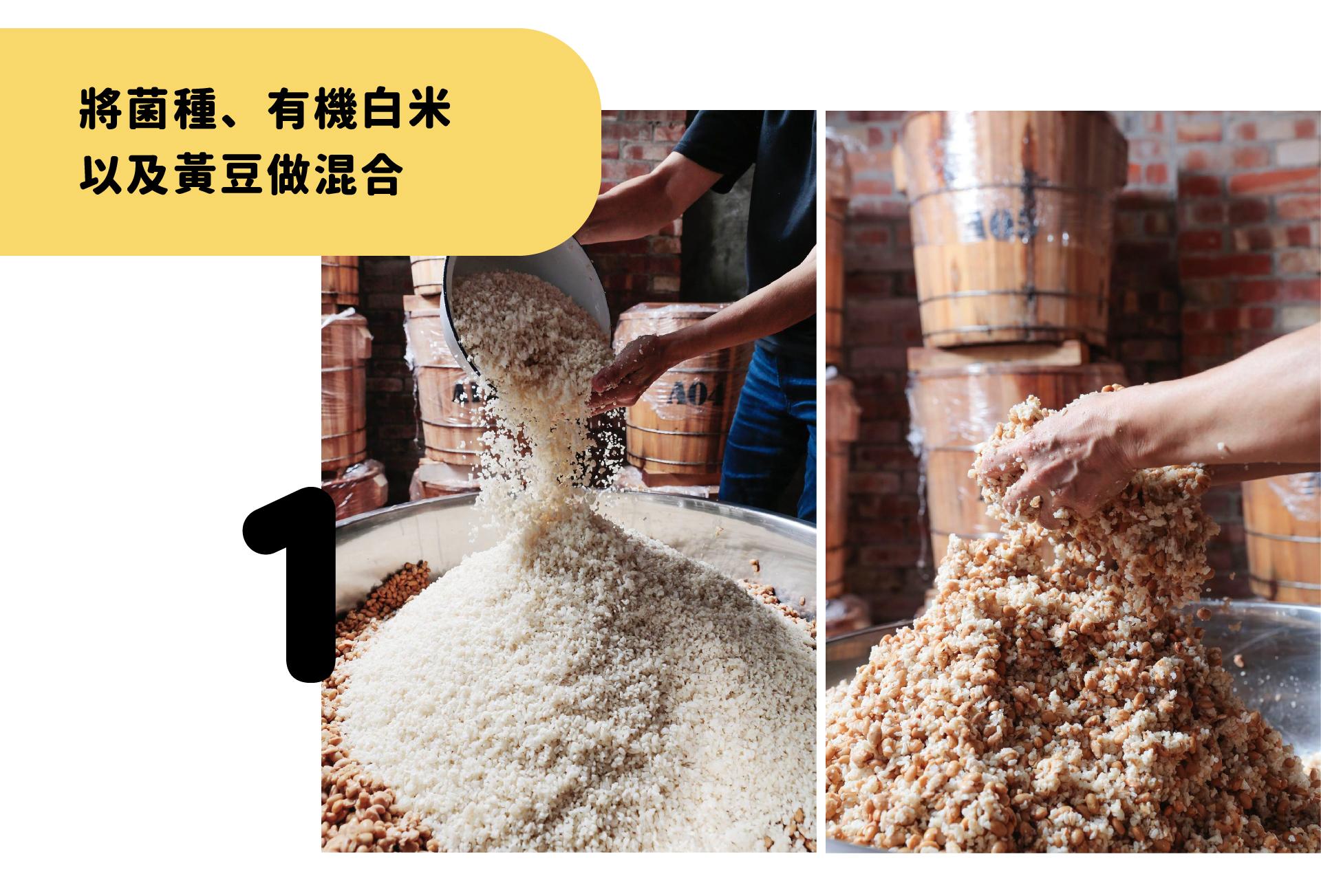 將菌種、有機白米以及黃豆做混合
