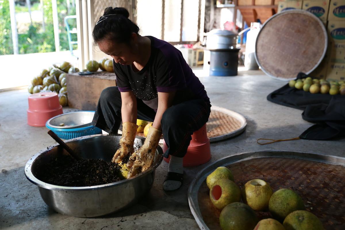 日光封存的茶香,三峽獨有的古法柚子茶 柚子茶是將比較酸的柚子果肉挖出來,放入中藥及茶葉,蓋上柚子蓋後再進行蒸、曬反覆的程序,直到把柚子所有的水分的逼出來。 | 甘樂食堂下午茶 | 古厝裡的美味時光