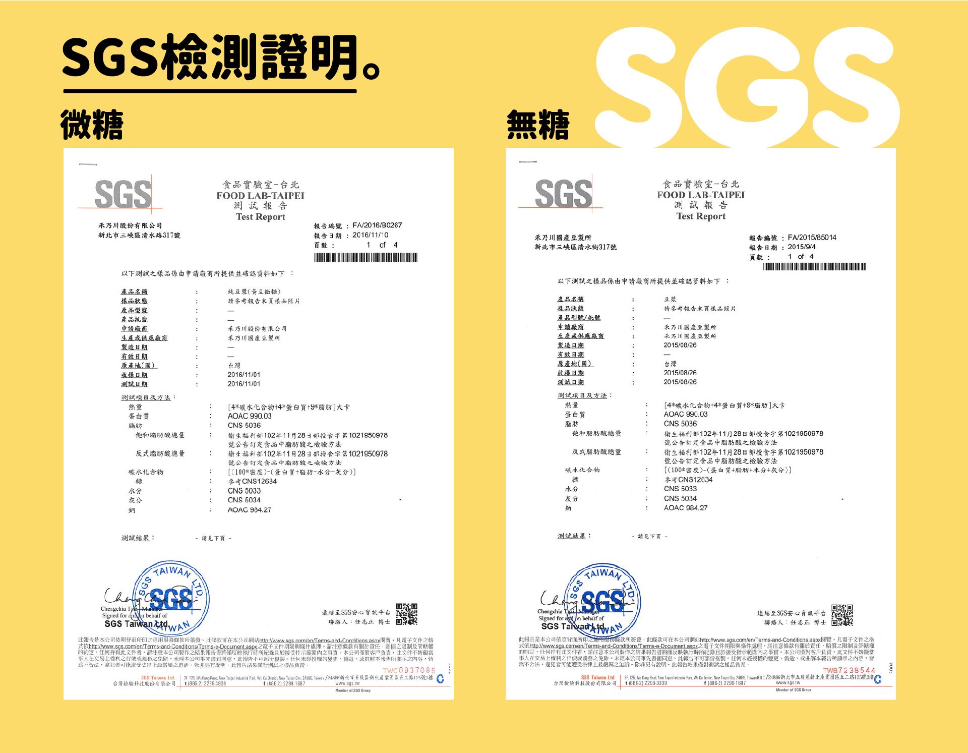 禾乃川SGS檢驗證明 - 純濃黃豆漿 - 嚴選台灣在地小農