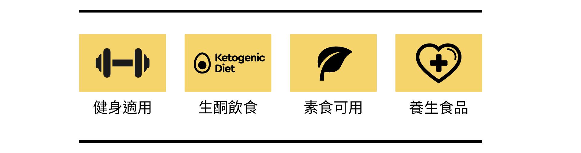 健身適用、生酮飲食、素食可用、養生食品