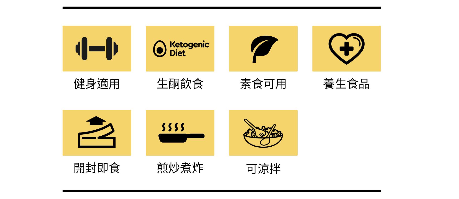 健身適用、生酮飲食、素食可用、養生食品、開封即食、煎炒煮炸、可涼拌
