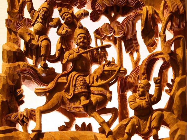 三峽長福巖 《英雄奪錦》黃希宸作(以木雕刻工作室) | 甘樂文創 | 甘之如飴,樂在其中