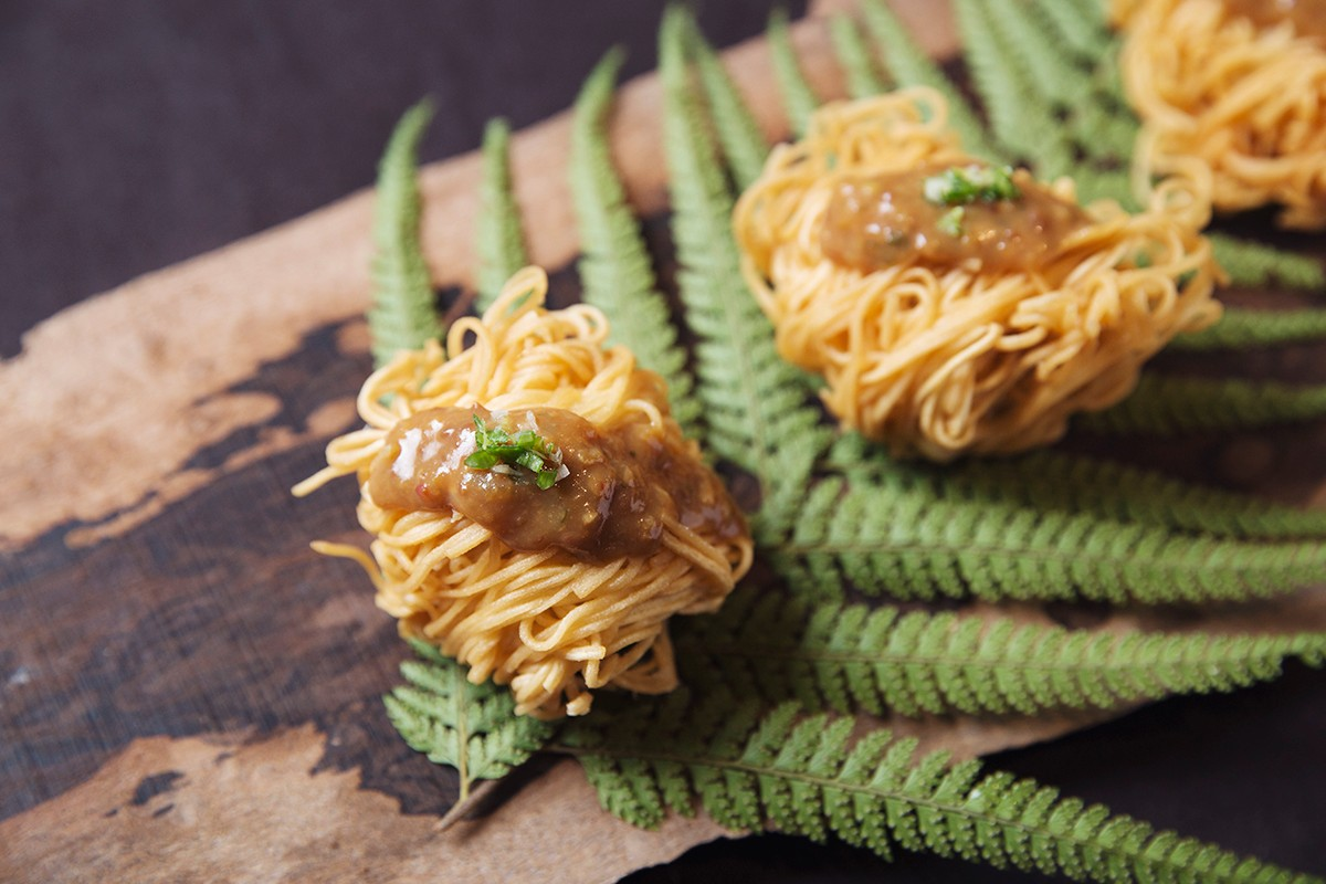 Handmade tofu wrapped in Golden Vermicelli Rolls    Made of naturally non-GMO soybeans from Taiwan   KOUJI Restaurant
