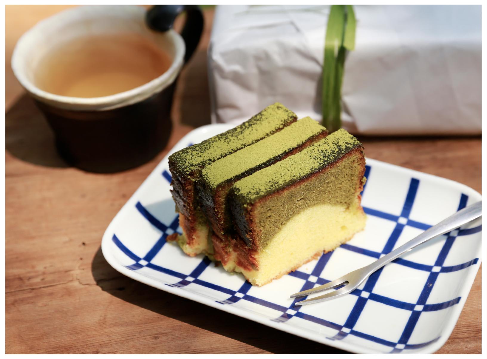 Taste the unique fragrance of Sanxia's Biluochun Tea in handmade pound cake | Made of naturally non-GMO soybeans from Taiwan | KOUJI Restaurant